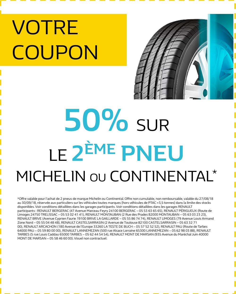 Renault coupons renault toulouse etats unis offre 4046 50 sur le 2 me pneu michelin ou - Garage renault toulouse etats unis ...